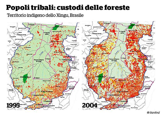 Il parco indigeno dello Xingu (delimitato in rosa) è abitato da diverse tribù. Costituisce una barriera fondamentale alla deforestazione (in rosso) della foresta Amazzonica. © ISA (Instituto Socioambiental)/Survival